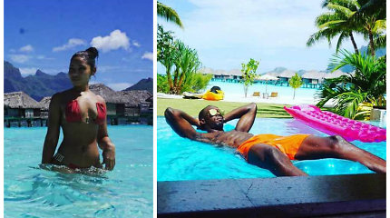 Neištikimybės skandalo lyg nebūta: Usainas Boltas su savo mergina atostogauja Bora Bora saloje