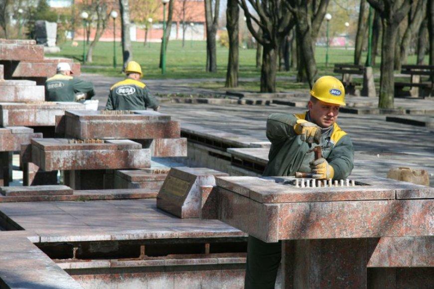 Sutvarkytas Danės skvero fontanas ims veikti jau šį savaitgalį.