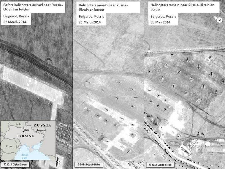 JAV valstybės departamento paviešintose palydovinėse nuotraukose matyti rusų kariniai sraigtasparniai Belgograde