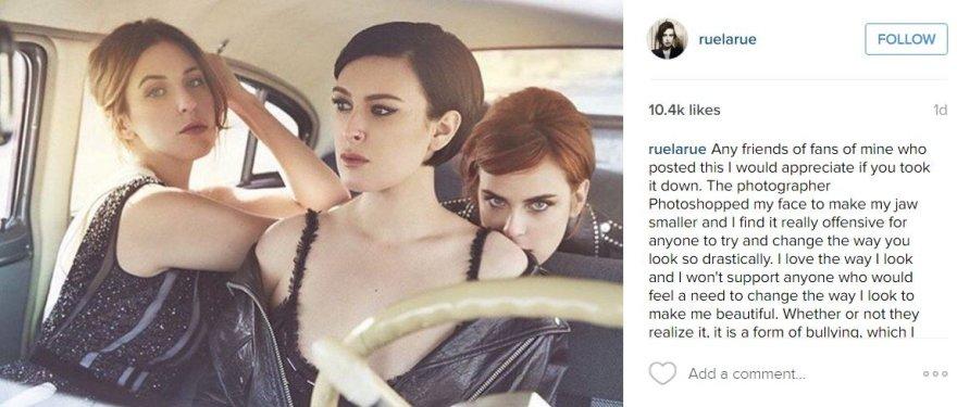 """Instagram"" nuotr./Rumer Willis papiktino retuošuota jos nuotrauka"
