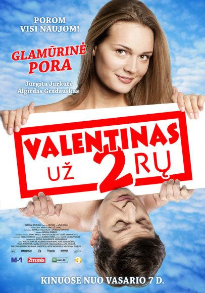 "Filmo ""Valentinas už 2rų"" plakatas su Algirdu Gradausku ir Jurgita Jurkute"