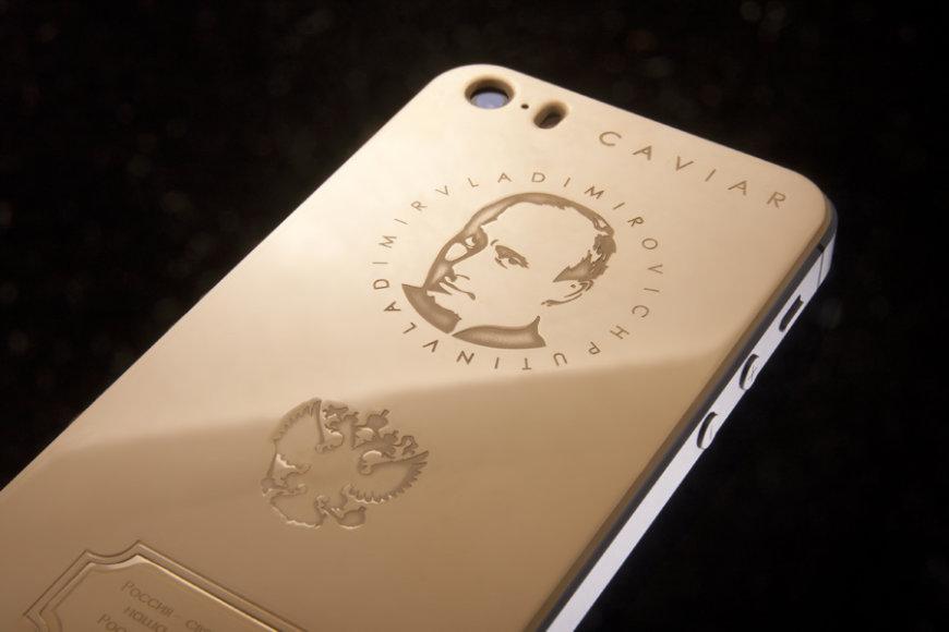 Auksinis telefonas su V.Putino atvaizdu