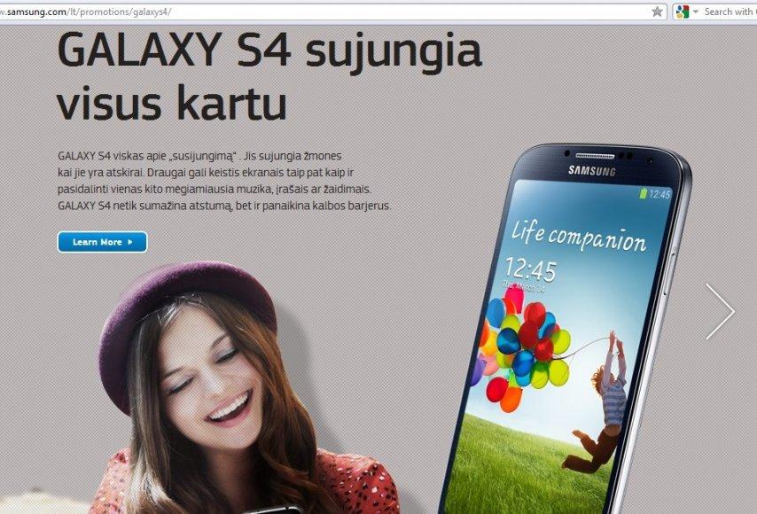 """""""Samsung"""" svetainėje naujasis """"Galaxy S4"""" pristatomas tekstais, kuriuose apstu klaidų."""
