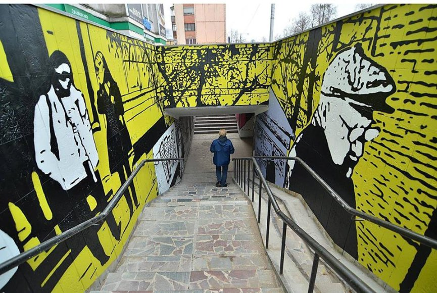 Gatvės menas požeminėje Kauno perėjoje