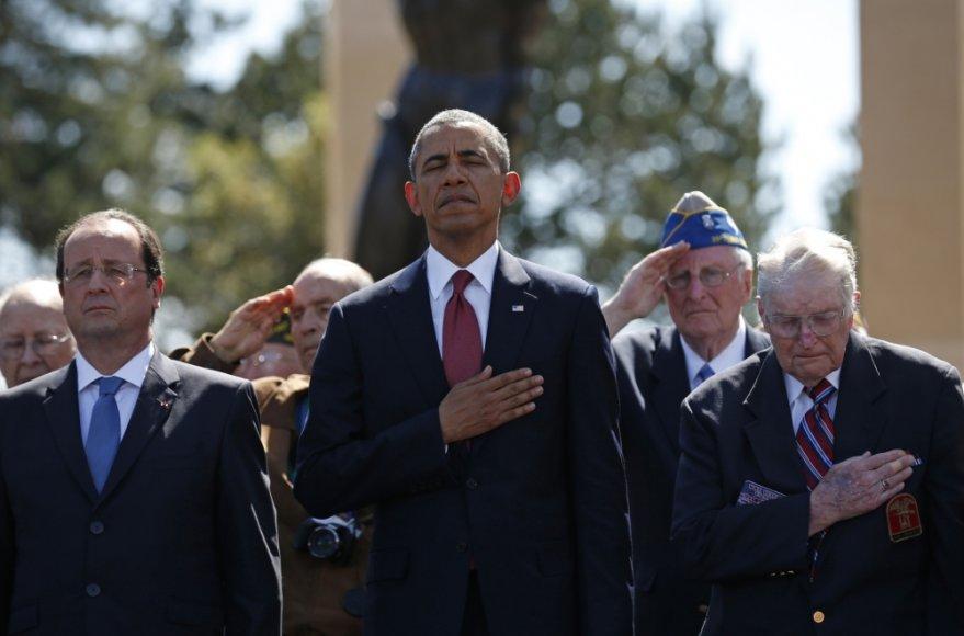 Barackas Obama, Francois Hollande\'as ir išsilaipinimo Normandijoje veteranai
