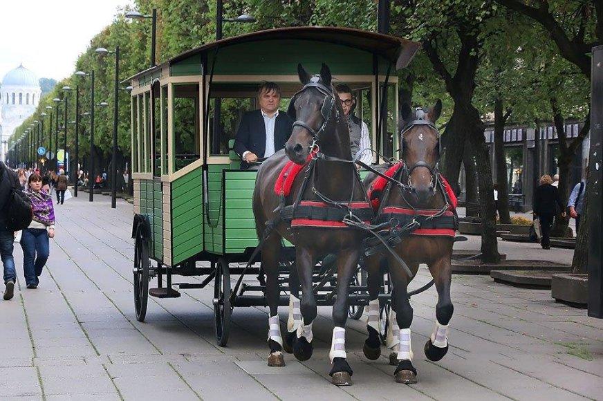 Po daugiau nei 80 metų į Laisvės alėją sugrįžta žirgų traukiame konkė.