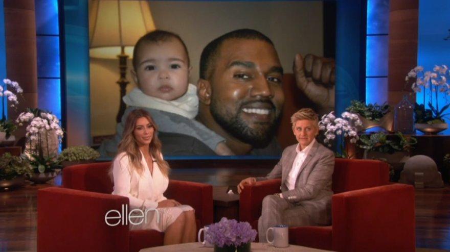 Kim Kardashian Ellen DeGeneres laidoje parodė naujas dukrelės North nuotraukas