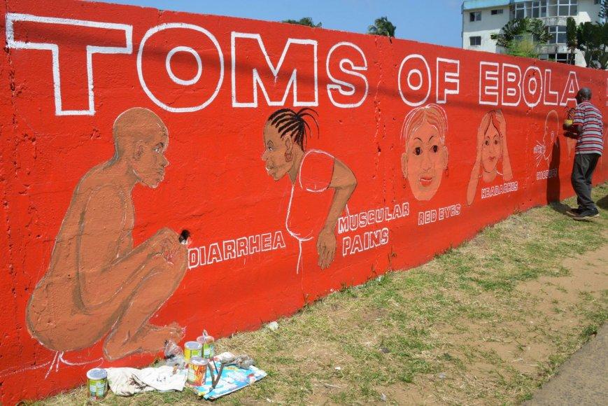 Liberijos menininkas Stephenas Doe ant sienos nupiešė Ebolos viruso simptomus.