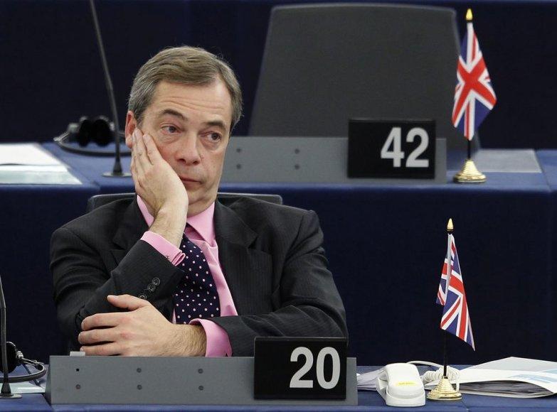 Jungtinės Karalystės nepriklausomybės partijos lyderis Nigelas Farage'as