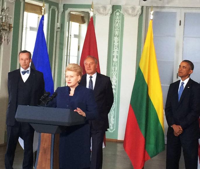 Estijos prezidentas Toomas Hendrikas Ilvesas, Lietuvos prezidentė Dalia Grybauskaitė, Latvijos prezidentas Andris Bėrzinis ir JAV prezidentas Barackas Obama