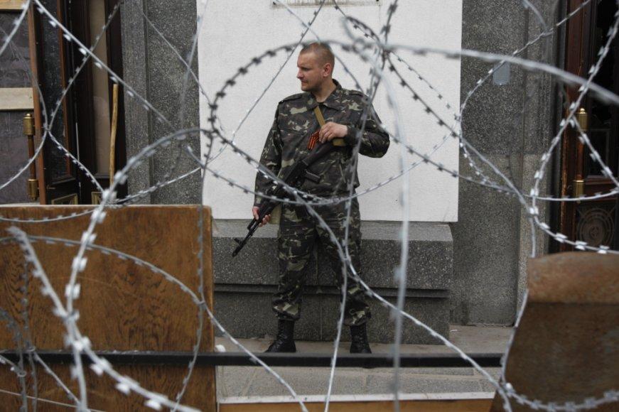 Separatistų užimtas administracijos pastatas Luhanske