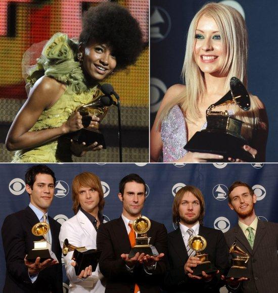 """Geriausio naujo atlikėjo statulėlę laimėję atlikėjai: Esperanza Spalding, Christina Aguilera ir """"Maroon 5"""""""
