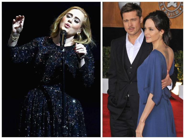 Adele ir Bradas Pittas su Angelina Jolie
