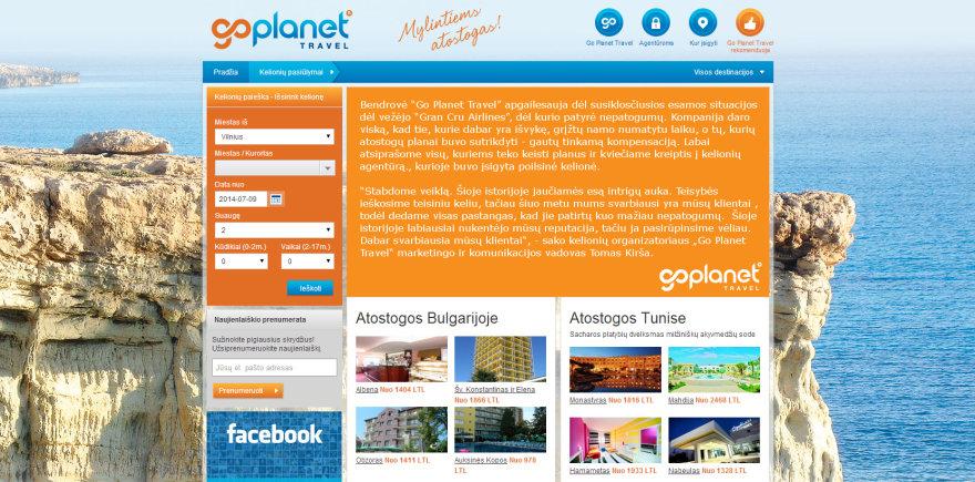 """""""Go Planet Travel"""" interneto puslapis"""