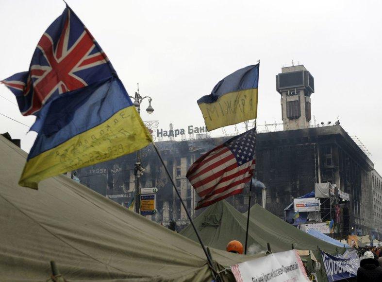 Didžiosios Britanijos ir Ukrainos vėliavos