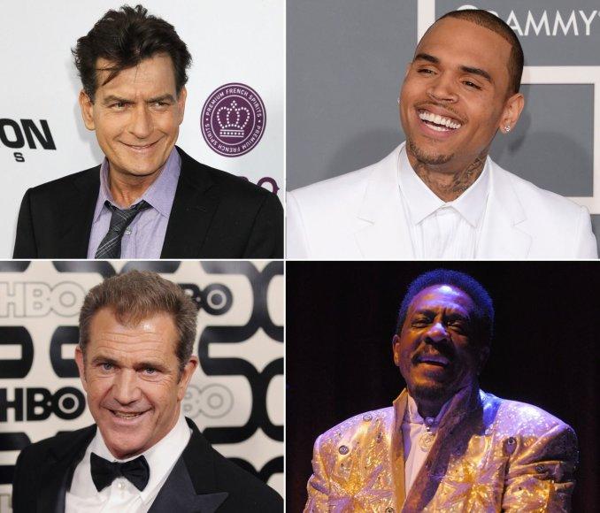 Holivudo smurtautojai: Charlie Sheenas, Chrisas Brownas, Melas Gibsonas ir Ike'as Turneris