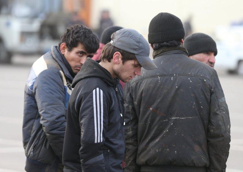 Per policijos reidą sulaikyti nelegalūs imigrantai Maskvoje