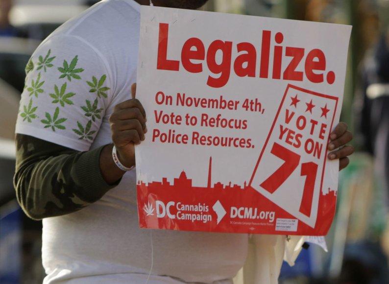 Kanapių legalizavimo rėmėjas JAV sostinėje Vašingtone
