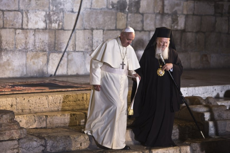 Popiežius Pranciškus ir stačiatikių patriarchas Baltramiejus I Jeruzalėje