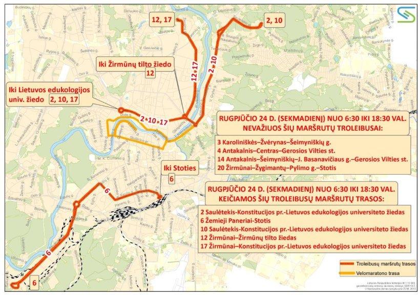 """""""Velomaratono"""" metu pakeisti kai kurių troleibusų maršrutai"""