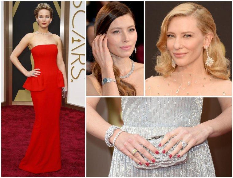 Jennifer Lawrence, Jessica Biel ir Cate Blanchett