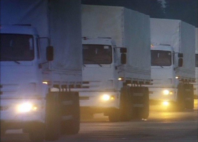 Rusijos sunkvežimių vilkstinė su humanitarine pagalba