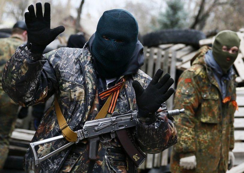 Prorusiški separatistai Slovjansko mieste
