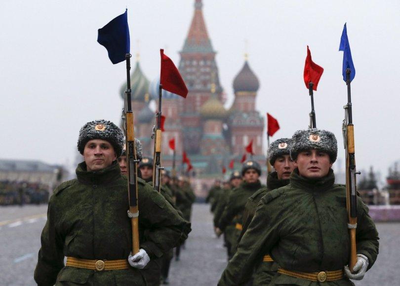 Rusijos kariai parade Maskvos Raudonojoje aikštėje