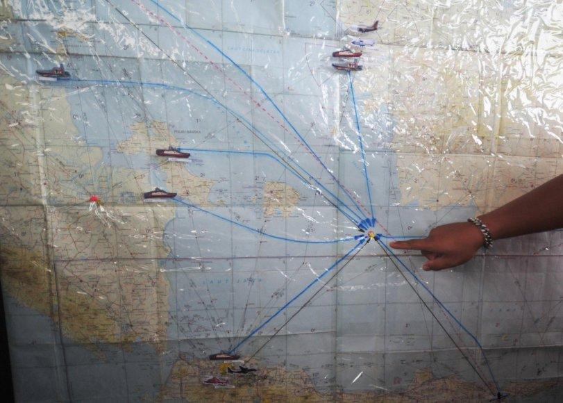 """Žemėlapyje parodyta galima """"AirAsia"""" lėktuvo sudužimo vieta."""