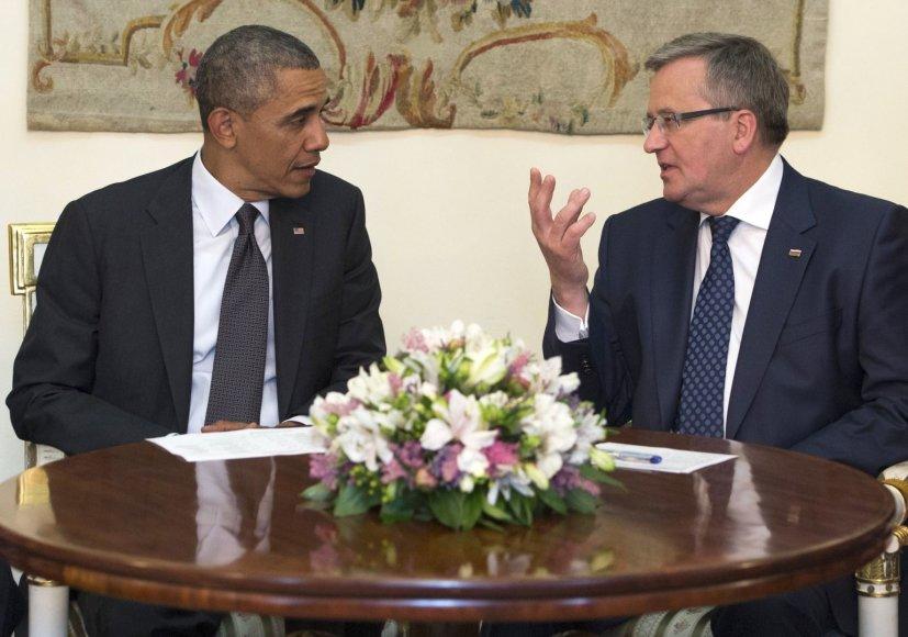 JAV prezidentas Barackas Obama ir Lenkijos prezidentas Bronislawas Komorowskis