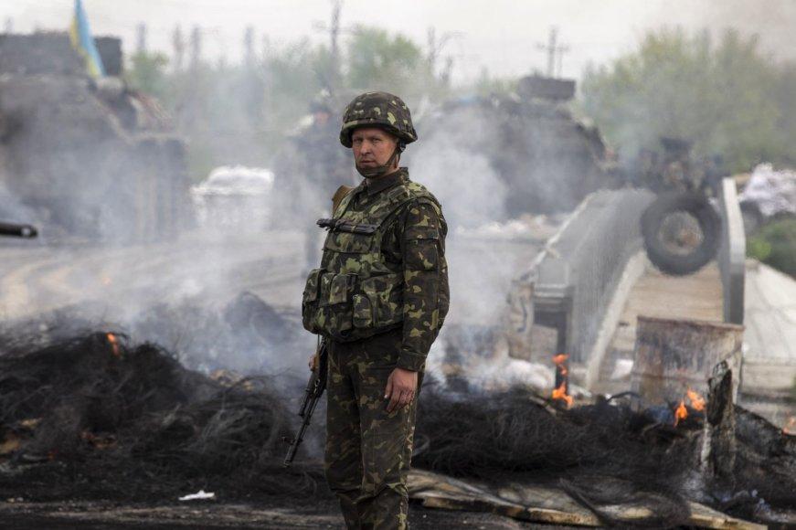 Ukrainos kariai netoli Slovjansko miesto