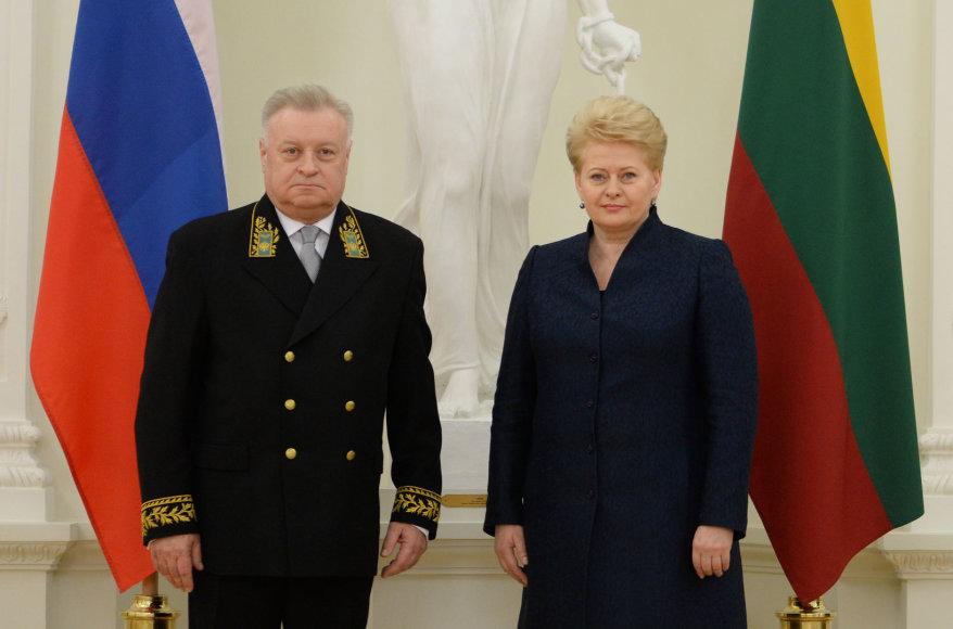Prezidentė priėmė Rusijos ambasadoriaus Aleksandro Udalcovo skiriamuosius raštus