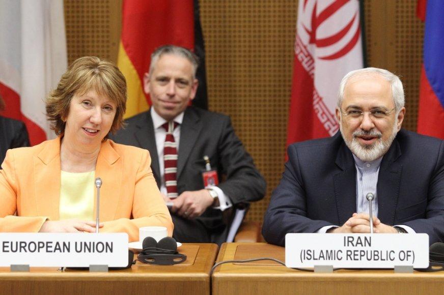 ES atstovė Catherine Ashton ir Irano užsienio reikalų ministras Mohammadas Javadas Zarifas