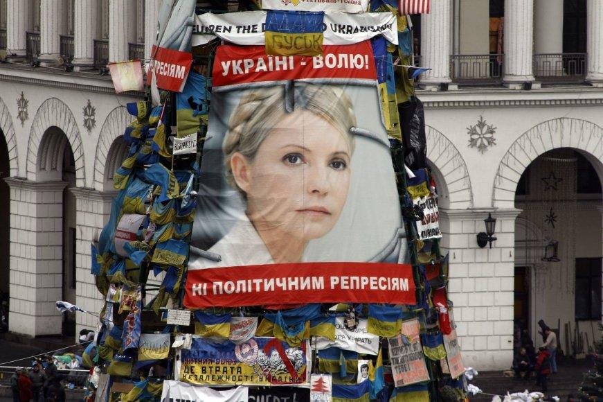 Plakatas su Julijos Tymošenko atvaizdu Nepriklausomybės aikštėje