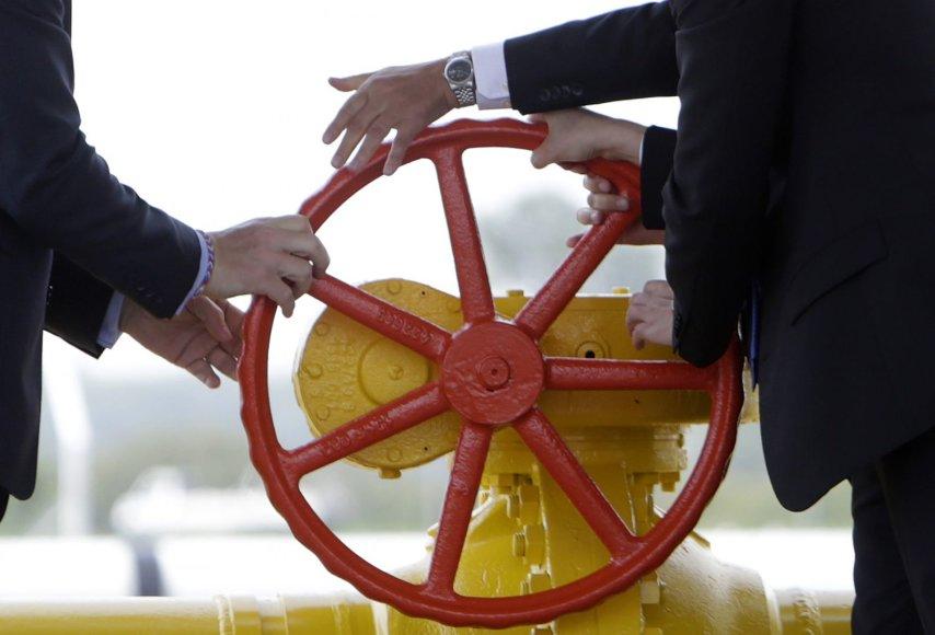 Dujų tiekimo į Ukrainą iš Slovakijos paleidimo ceremonija