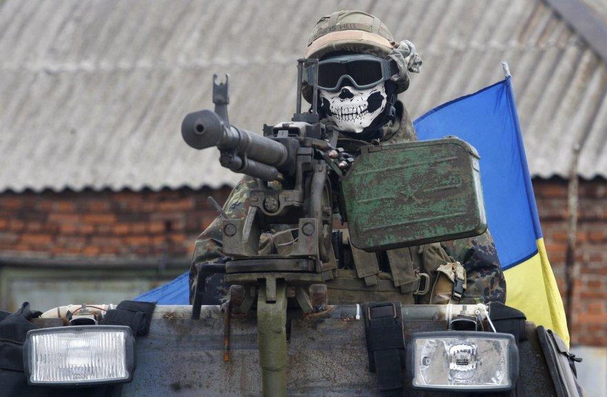 Ukrainos karys Delbacevo mieste.