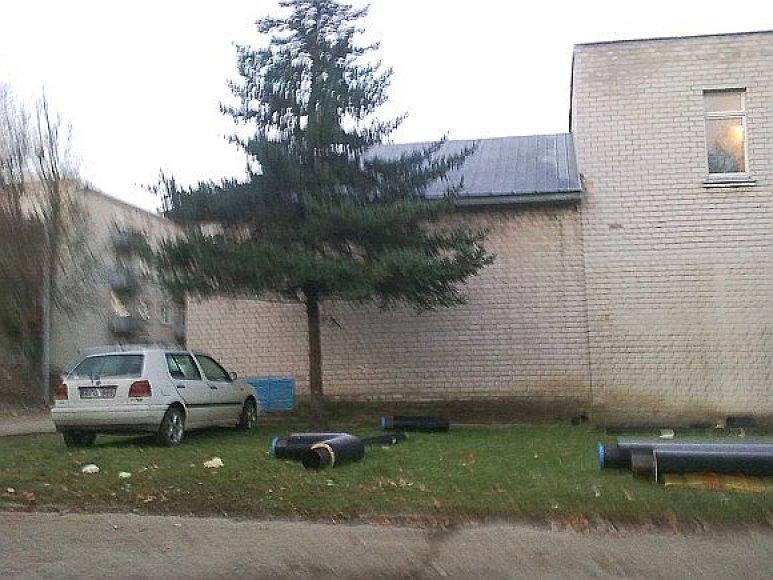 Fotopolicija: automobilis Širvintose ant žolytės.