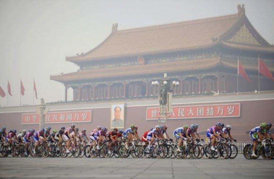 Dviratininkų paradas Tianamenio aikštėje