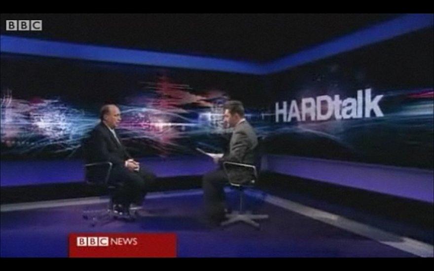 """Andrius Kubilius laidos BBC laidos """"HARDTalk"""" studijoje"""