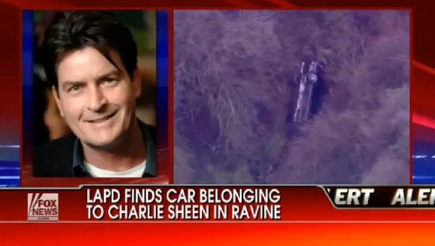 Aktoriaus Charlie Sheeno automobilis aptiktas nukritęs nuo skardžio.