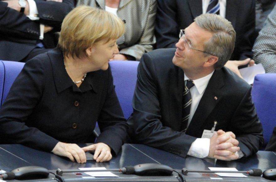 Angela Merkel ir Christianas Wulffas