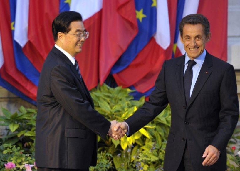 Hu Jintao ir Nicolas Sarkozy