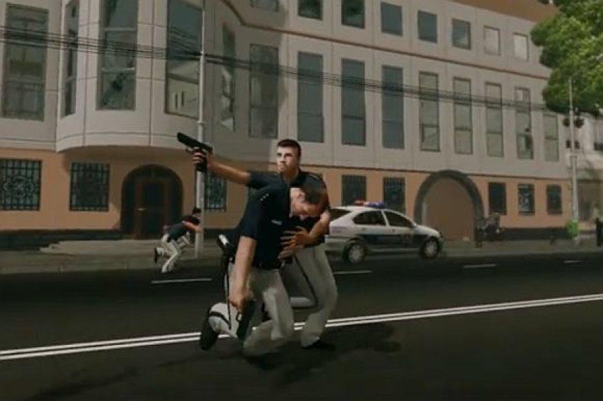"""Scena iš kompiuterinio žaidimo """"Policija"""""""