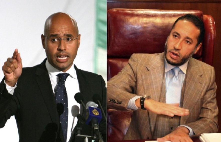 Muamaro Kadhafi sūnūs Saifas al Islamas (kairėje) ir Saadi