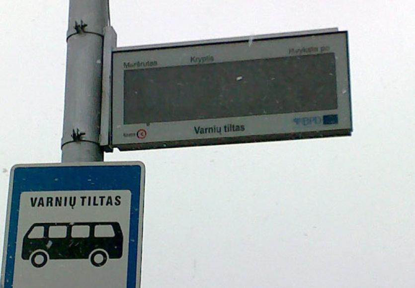 Nebeveikia stotelės informacinė švieslentė