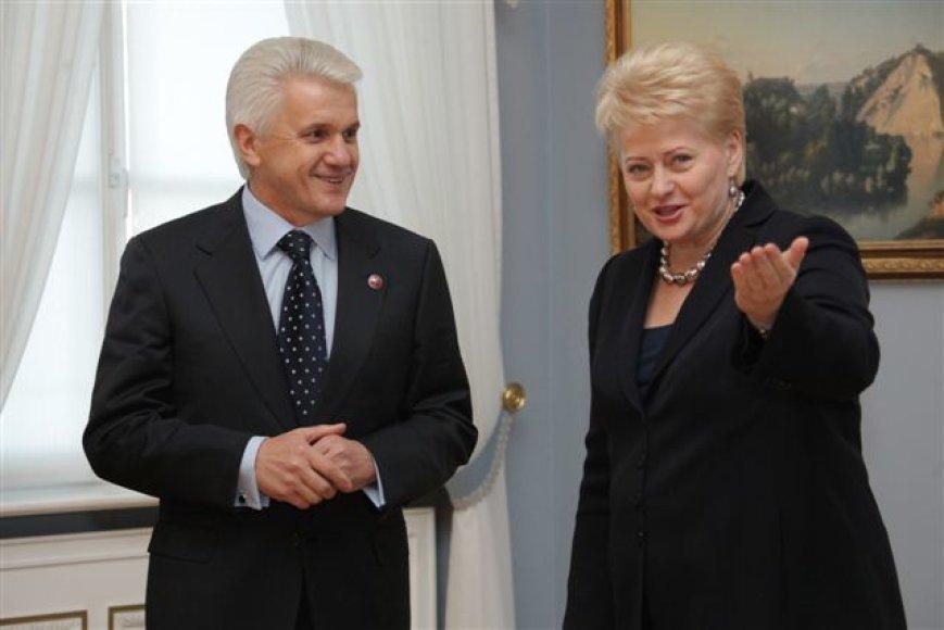 D.Grybauskaitė priėmė Lietuvoje su darbo vizitu viešintį Ukrainos Aukščiausios Rados pirmininką V.Litviną.