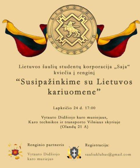 """Vilniuje – Lietuvos šaulių studentų korporacijos """"SAJA"""" renginys."""
