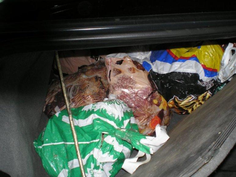 Automobilio bagažinėje įrengtoje slaptavietėje – neapdorotas gintaras.