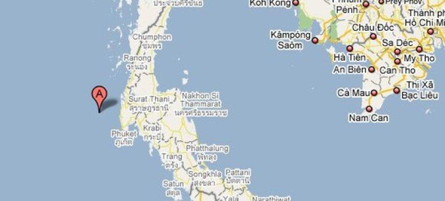 Kateris nuskendo, grįždamas į Tailandą iš Similano salų, kurios pažymėtos žemėlapyje.