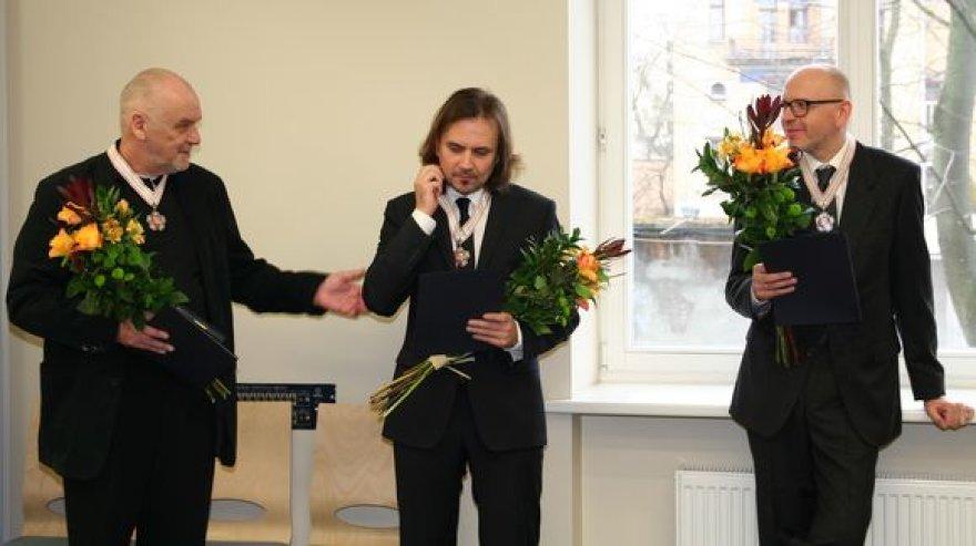 Režisieriai Eimuntas Nekrošius, Oskaras Koršunovas ir  video menininkas Deimantas Narkevičius